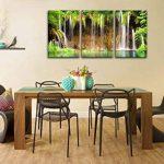 Décoration murale en 3 pièces - Impression de photo sur toile - Chutes d'eau turquoise du parc national de Plitvice - Technique d'impression giclée de la marque So Crazy Art image 4 produit