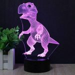Dinosaures 3D Lampe Veilleuse optique Illusions, tiscen 7Changement de couleur acrylique toucher Tableau Lampe de bureau pour enfants Chambre Noël Cadeaux d'anniversaire de la marque Tiscen image 3 produit