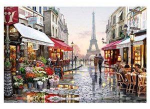 Diy peinture à l'huile par le nombre de kit, peinture peinture romantique tour Eiffel Paris Street View dessin avec des brosses 16 * 20 pouces décor de Noël décorations cadeaux (sans cadre) de la marque Dreamsy image 0 produit