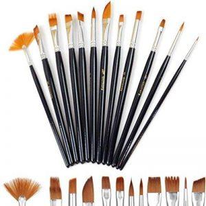 Doutop Brosse de Peinture Pinceaux Peinture Artiste professionnel multifonctions Nylon cheveux Peinture Pinceaux pour Peinture acrylique gouache Huile Aquarelle 12 de la marque Doutop image 0 produit