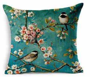 Elviros Peinture à l'huile Coton Lin Blend Décoratif Housse de Coussin 45x45 cm [ 18x18'' ] - Oiseaux et arbres de la marque Elviros image 0 produit
