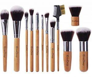 EmaxDesign Lot de pinceaux à maquillage professionnel - 12 pièces avec poignée en bambou synthétique premium. Pour les fonds de teint, pinceaux à fard à joues, kabuki, à poudre, à crèmes cosmétiques et correcteur pour œil de la marque EmaxDesign image 0 produit