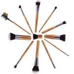 EmaxDesign Lot de pinceaux à maquillage professionnel - 12 pièces avec poignée en bambou synthétique premium. Pour les fonds de teint, pinceaux à fard à joues, kabuki, à poudre, à crèmes cosmétiques et correcteur pour œil de la marque EmaxDesign image 3 produit
