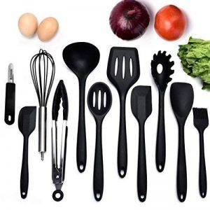 Ensemble de 10 ustensiles de cuisine non toxiques en silicone non toxique Ustensiles de cuisine de la série Les outils de cuisson à la maison incluent Tong, fouet, brosse, cuillère à fentes, fourchette à pâtes, spatule fendue (NOIR) de la marque Liyoung image 0 produit