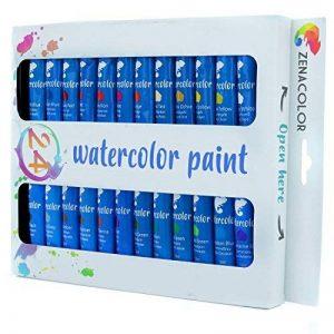 Ensemble de 24 tubes de peinture aquarelle par Zenacolor - Pack de 24 x 12mL - Peinture de qualité supérieure et non toxique - 24 Couleurs uniques et différentes - Idéal pour débutant ou professionnel - Pigments riches et sèche rapide - Facile à peindre s image 0 produit