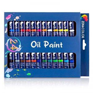Ensemble de 24 tubes de peinture à l'huile par Zenacolor - Pack de 24 x 12mL - Peinture huile de qualité supérieure - 24 Couleurs uniques et différentes - Idéal pour débutant ou professionnel - Pigments riches - Facile à peindre sur toile, argile ou papie image 0 produit