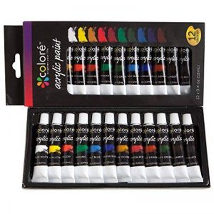 Ensemble de peinture acrylique Colore - parfait pour la peinture sur toile, argile, tissu, ongles et céramique - Pigments riches avec une qualité durable - Idéal pour les débutants, les étudiants et les artistes professionnels - Ensemble de 12 de la marqu image 0 produit