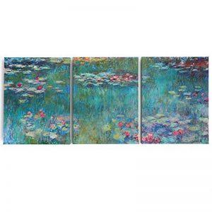 Fajerminart 3panneaux de Claude Monet Peinture à l'huile Réplique nénuphars des Impressions sur toile Monet Poster Art mural pour le salon stretch sur cadre prête à suspendre, Mn08, 50x70cmx3 de la marque Fajerminart image 0 produit
