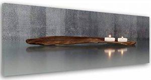 Feeby Frames, Tableau imprimé xxl, Tableau imprimé sur toile, Tableau deco, Canvas 40x120 cm, BOUGIES, BOIS, ZEN, GRIS, BRUN de la marque Feeby Frames image 0 produit