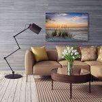 Feeby Frames, Tableau imprimé xxl, Tableau imprimé sur toile, Tableau deco, Canvas 60x80 cm, PAYSAGE, HERBE, PLAGE, EAU, MER, SABLE, CIEL de la marque Feeby Frames image 4 produit