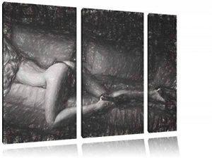 femme superbe effet de charbon de 3 pièces image fesses sexy image de toile 120x80 avec sur toile, XXL énormes Photos complètement encadrées avec civière, impression d'art sur châssis murale gänstiger comme la peinture ou une peinture à l'huile, pas une a image 0 produit