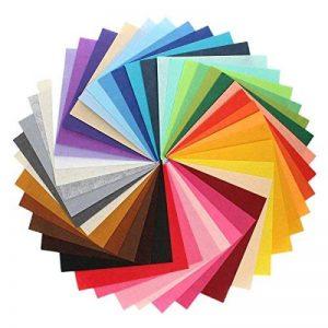 Feutre acrylique Tissu non tissé pas doux Diy Artisanat Travail Patchwork Couture Couleur mélangée 1 mm Tissu épais (10cm x 10 cm, 44pcs) de la marque SuperHandwerk image 0 produit