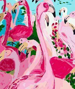 Flamingo Peinture d'art sur toile DIY Peinture par numéro Kits de coloriage Peinture murale moderne Art Photo Cadeau, A443, Unframed de la marque DE LAMP image 0 produit