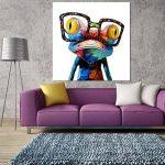 Gemini_mall peinte à la main Peinture à l'huile mignon Grenouille sur toile sans cadre moderne Pop sur toile murale d'art photos Décor, grenouille, 50x50cm/20x20in de la marque Gemini_mall image 1 produit
