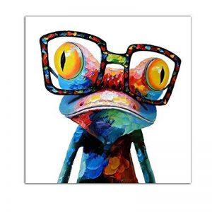 Gemini_mall peinte à la main Peinture à l'huile mignon Grenouille sur toile sans cadre moderne Pop sur toile murale d'art photos Décor, grenouille, 50x50cm/20x20in de la marque Gemini_mall image 0 produit
