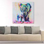 Gemini _ Mall Peinture à l'huile d'un éléphant coloré sur toile moderne sans cadre Toile murale Décoration d'intérieur, Toile, éléphant, 60 cm x 60 cm de la marque Gemini_mall image 1 produit