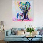 Gemini _ Mall Peinture à l'huile d'un éléphant coloré sur toile moderne sans cadre Toile murale Décoration d'intérieur, Toile, éléphant, 60 cm x 60 cm de la marque Gemini_mall image 4 produit