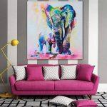 Gemini _ Mall Peinture à l'huile d'un éléphant coloré sur toile moderne sans cadre Toile murale Décoration d'intérieur, Toile, éléphant, 60 cm x 60 cm de la marque Gemini_mall image 2 produit