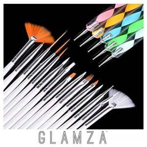 Glamza 20PC Nail Art Design Gel Peinture Dotting Pen & Brosse de manucure pédicure kit de la marque Glamza image 0 produit