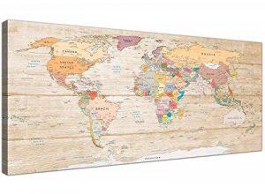 Grande carte du monde Impression sur toile–Coloré Crème–120cm de large moderne–1314Wallfillers de la marque Wallfillers image 0 produit