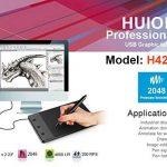 Huion H420USB Motif art graphique Dessin Tablette Planche à stylo numérique avec 3 Touches de Raccourcis Express avec Stylet Sans-fil a Pile, 10cm x 5.6cm ( 4 ''x 2.23 '') Windows Mac de la marque Huion image 1 produit