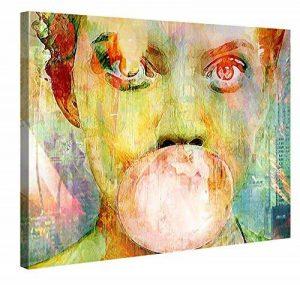 Impression Giclée sur Toile en Grand Format – Bubblegum Girl – 100x75cm - Photo sur Toile Tendue sur Châssis en bois – Tableau Artistique Contemporain – Image Déco d'Art Murale Prêt à Accrocher de la marque Gallery of Innovative Art image 0 produit