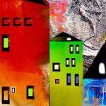 Impression sur toile 100x50 cm - TOP -5 pieces - Image sur toile - Images - Photo - Tableau - motif moderne - Décoration - tendu sur chassis – ville coloré abstraction abstrait maisons d-A-0052-b-m 100x50 cm B&D XXL de la marque BD XXL image 3 produit