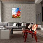 Impression sur toile Art mur peinture pour Home Decor, Sunny Day Blooming Poppy Opium en bleu ciel Peintures moderne impression giclée tendue et encadrée art de la Photo pour décoration de salon, fleurs images photo 30,5x 20,3cm de la marque So Crazy Ar image 1 produit