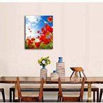 Impression sur toile Art mur peinture pour Home Decor, Sunny Day Blooming Poppy Opium en bleu ciel Peintures moderne impression giclée tendue et encadrée art de la Photo pour décoration de salon, fleurs images photo 30,5x 20,3cm de la marque So Crazy Ar image 2 produit