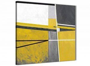 Jaune moutarde Gris Peinture Accessoires de Cuisine Art Sur Toile–abstrait 1s388s–49cm carré Imprimé Wallfillers de la marque Wallfillers image 0 produit