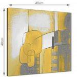 Jaune moutarde Gris Peinture de salle de bain Accessoires images sur toile–abstrait 1s419s–49cm carré Imprimé Wallfillers de la marque Wallfillers image 2 produit