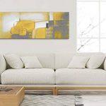 Jaune moutarde Gris Peinture Salon Accessoires images sur toile–abstrait 1419–120cm Imprimé Wallfillers de la marque Wallfillers image 1 produit