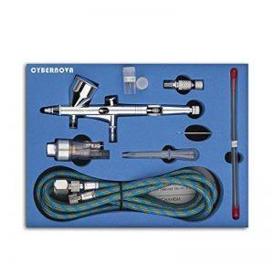 Kit SP180K Professional Double-action Trigger Air-paint Control Airbrush AVEC 0.2 / 0.3 / 0.5mm Needle Air Brush Spray Gun pour maquillage Modèle Nail Body Paint Art de la marque CYBERNOVA image 0 produit