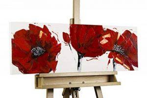 KunstLoft® tableau peinture sur toile à l'huile 'Coquelicot rouge feu' 90x30cm | tableau acrylique peint à la main | Toile sur cadre bois | Coquelicot fleurs rouge fond blanc de la marque KunstLoft image 0 produit