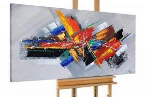 KunstLoft® tableau peinture sur toile à l'huile 'Confusion' 140x70cm | tableau acrylique peint à la main | Toile sur cadre bois | Abstrait Moderne Orange Gris de la marque KunstLoft image 0 produit