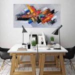 KunstLoft® tableau peinture sur toile à l'huile 'Confusion' 140x70cm | tableau acrylique peint à la main | Toile sur cadre bois | Abstrait Moderne Orange Gris de la marque KunstLoft image 2 produit