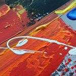 KunstLoft® tableau peinture sur toile à l'huile 'Confusion' 140x70cm | tableau acrylique peint à la main | Toile sur cadre bois | Abstrait Moderne Orange Gris de la marque KunstLoft image 1 produit