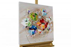 KunstLoft® tableau peinture sur toile à l'huile 'Rébellion de couleurs' 60x60cm | tableau acrylique peint à la main | Toile sur cadre bois | Tulipes fleurs multicolores de la marque KunstLoft image 0 produit