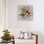 KunstLoft® tableau peinture sur toile à l'huile 'Rébellion de couleurs' 60x60cm | tableau acrylique peint à la main | Toile sur cadre bois | Tulipes fleurs multicolores de la marque KunstLoft image 2 produit