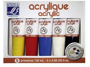 Lefranc Bourgeois Set de 5 Peinture acrylique 120 ml Jaune/Rouge/Bleu/Blanc/Noir de la marque Lefranc & Bourgeois image 0 produit