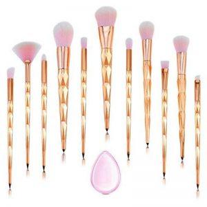 Licorne professionnel maquillage pinceaux 11 PCS rose diamant poignée pinceau de maquillage ensemble fond de teint Blush fard à paupières visage poudre Pinceau maquillage pinceaux Kit de maquillage avec Silicone composent éponge et maquillage sac par C.RA image 0 produit
