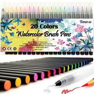 Lot de 20 stylos pinceaux - Fournitures artistiques - Pour livres de coloriage, à faire soi-même - Esquisses, carnet, calligraphie, peinture - Pinceau à eau avec pointe feutre inclus de la marque Tomaxis image 0 produit
