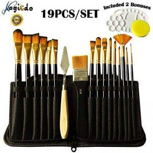 Magicdo® 19 Pcs Set de pinceaux de peinture, pinceaux en nylon d'importation de cheveux, pinceau acrylique d'artiste pour la peinture acrylique de gouache d'huile d'aquarelle (19 pcs/ensemble) de la marque Magicdo® image 0 produit