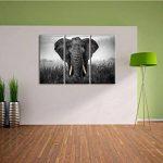 magnifique noir / blanc sur l'image 120x80 sur toile 3-pièces de l'image de toile éléphant, énorme XXL Photos complètement encadrée avec civière, art impression sur murale avec cadre, gänstiger que la peinture ou la peinture à l'huile, pas poster ou une a image 3 produit