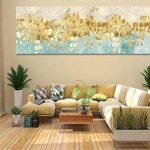 Maison Artwork Grande Taille Moderne Or Résumé Impressions Sur Toile Mur Art Turquoise Impressions Sur Toile Décoration Murale Toile Peinture Pour Salon Pas de cadre (50x150cm, MS006) de la marque Maison Artwork image 3 produit