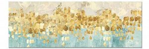 Maison Artwork Grande Taille Moderne Or Résumé Impressions Sur Toile Mur Art Turquoise Impressions Sur Toile Décoration Murale Toile Peinture Pour Salon Pas de cadre (50x150cm, MS006) de la marque Maison Artwork image 0 produit