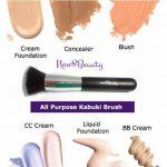 Meilleur synthétique Fondation Brush Flat Top Kabuki Face Brush Applicateur Blender - Grande pour liquides, crèmes, Contour, Poudres, Mineral, Translucide Poudre Maquillage - Flawless application Airbrush - Soies synthétiques - Vegan - Par New8Beauty de l image 3 produit