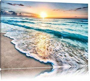 Mer au coucher du soleil Format: toile 60x40auf, XXL énormes Photos complètement encadrés par la civière, l'impression de l'image Art mural avec cadre, moins cher que peintures à l'huile et de l'image, aucune affiche ou poster de la marque Pixxprint image 0 produit