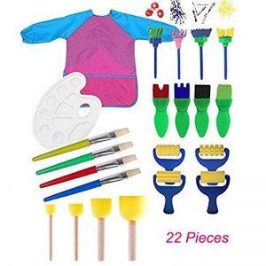 Miminuo enfants de peinture, 22pcs enfants Peinture éponge Lot de pinceaux de pour Early Learning Art Craft DIY, tablier avec palette et outils de peinture de la marque MIMINUO image 0 produit