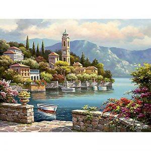 MMRM Maison Décor Toile Peinture Par Numbers Kit peinture à l'huile Bricolage Mer Chaude Pas de Cadre de la marque MMRM image 0 produit